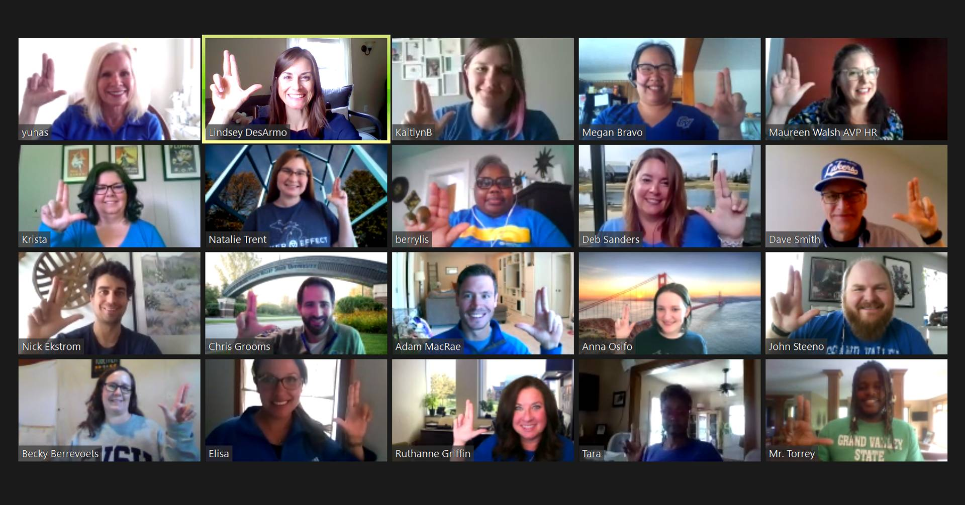 Photo of GVSU Human Resources team members via Zoom